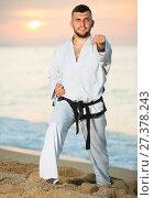 Купить «Young sportsman is practicing karate moves», фото № 27378243, снято 19 июля 2017 г. (c) Яков Филимонов / Фотобанк Лори