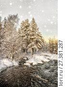 Купить «Зимний пейзаж с рекой», фото № 27381287, снято 8 января 2018 г. (c) Наталья Осипова / Фотобанк Лори