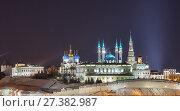 Купить «View of the illuminated Kremlin in the winter evening, Kazan, Russia», фото № 27382987, снято 4 января 2018 г. (c) Юлия Бабкина / Фотобанк Лори