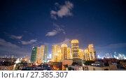 Купить «Time lapse view of Makati skyscrapers in Manila city. Skyline at night, Philippines.», видеоролик № 27385307, снято 9 января 2018 г. (c) Mikhail Davidovich / Фотобанк Лори