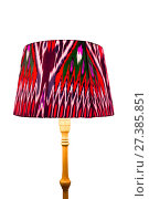 Купить «Classic floor lamp with soft light and oriental ornaments on a white background», фото № 27385851, снято 24 октября 2016 г. (c) Евгений Ткачёв / Фотобанк Лори