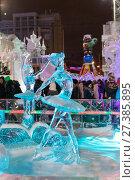 Купить «Ballerina sculpture made of ice on the night street», фото № 27385895, снято 25 декабря 2016 г. (c) Евгений Ткачёв / Фотобанк Лори