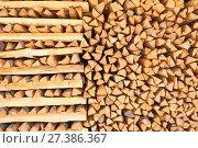 Купить «Pine timber. firewood background», фото № 27386367, снято 15 июля 2015 г. (c) Дмитрий Калиновский / Фотобанк Лори