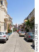 Купить «Picturesque narrow street in the resort town of Batumi. Батуми. Грузия», фото № 27386403, снято 10 июля 2013 г. (c) Евгений Ткачёв / Фотобанк Лори