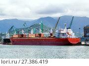 Купить «Container ship and fishing boat in the seaport. Батуми. Грузия», фото № 27386419, снято 10 июля 2013 г. (c) Евгений Ткачёв / Фотобанк Лори