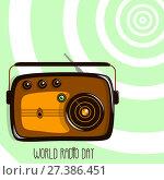 Купить «World Radio Day. Retro radio», иллюстрация № 27386451 (c) Юлия Фаранчук / Фотобанк Лори