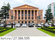 Купить «Batumi State Drama Theatre named after I. Chavchavadze and Neptune Fountain», фото № 27386595, снято 11 июня 2016 г. (c) Евгений Ткачёв / Фотобанк Лори