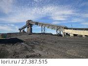 Купить «Угольный склад на тепловой электростанции», фото № 27387515, снято 24 мая 2017 г. (c) Геннадий Соловьев / Фотобанк Лори