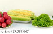 Купить «Fresh healthy vegetables in plates on a table», видеоролик № 27387647, снято 21 октября 2017 г. (c) Tatiana Kravchenko / Фотобанк Лори