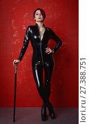 Купить «Beautiful fetish model in latex costume», фото № 27388751, снято 26 октября 2017 г. (c) Дмитрий Черевко / Фотобанк Лори
