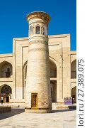 The minaret front of the mosque in the complex Bahouddin Naqshbandi, Bukhara, Uzbekistan (2016 год). Стоковое фото, фотограф Валерий Смирнов / Фотобанк Лори