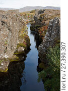 Купить «Rift between North American and Eurasian tectonic plates at Thingvellir, Thingvellir National Park, UNESCO World Heritage Site, Iceland. September. Photographed for the Freshwater Project.», фото № 27390307, снято 22 января 2018 г. (c) Nature Picture Library / Фотобанк Лори