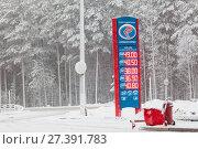 Купить «Информационный щит и электронное табло с ценами на бензин и топливо на заснеженной автомобильной трассе», фото № 27391783, снято 10 января 2018 г. (c) Кекяляйнен Андрей / Фотобанк Лори