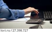 Купить «woman with calculator and laptop at night office», видеоролик № 27398727, снято 4 января 2018 г. (c) Syda Productions / Фотобанк Лори