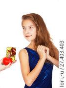 Купить «Вручение неожиданного подарка-признания девочке подростку. Мягкий фокус изображения», фото № 27403403, снято 14 января 2018 г. (c) Круглов Олег / Фотобанк Лори