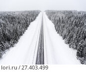 Купить «Прямой участок зимней лесной трассы во время снегопада, пустая дорога», фото № 27403499, снято 10 января 2018 г. (c) Кекяляйнен Андрей / Фотобанк Лори