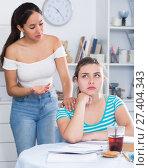 Купить «Girls finding out relationship at home», фото № 27404343, снято 7 июня 2017 г. (c) Яков Филимонов / Фотобанк Лори