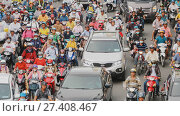 Купить «HO CHI MINH, VIETNAM - OCTOBER 13, 2016: Peak hour. Dense traffic in Ho Chi Minh City. Vietnam.», фото № 27408467, снято 13 октября 2016 г. (c) Mikhail Davidovich / Фотобанк Лори