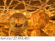 Золотые монеты криптовалюты Биткоин внутри Всемирной сети. Стоковое фото, фотограф Николай Винокуров / Фотобанк Лори