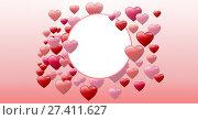 Купить «Bubbly Valentines hearts with empty circle», фото № 27411627, снято 19 октября 2018 г. (c) Wavebreak Media / Фотобанк Лори