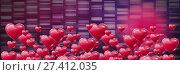 Купить «Shiny bubbly Valentines hearts with rectangles purple background», фото № 27412035, снято 22 октября 2018 г. (c) Wavebreak Media / Фотобанк Лори
