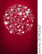 Купить «Valentines day design with hearts», фото № 27412627, снято 19 октября 2018 г. (c) Wavebreak Media / Фотобанк Лори