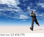 Купить «Rennender mann unter blauem wolkenhimmel - 3d illustration», фото № 27418775, снято 20 января 2018 г. (c) easy Fotostock / Фотобанк Лори