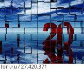 Купить «Die zahl zwanzig spiegelt sich in einer wand aus würfeln - 3d illustration», фото № 27420371, снято 20 января 2018 г. (c) easy Fotostock / Фотобанк Лори