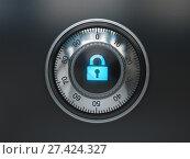 Купить «Safe lock with padlock sign. Security concept background», фото № 27424327, снято 23 марта 2019 г. (c) Maksym Yemelyanov / Фотобанк Лори