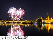 Купить «Beautiful view on Colorful fireworks over Charles bridge and the river Vltava. The historical center of Prague. The Czech Republic 2018 New year.», фото № 27425291, снято 1 января 2018 г. (c) Алексей Ширманов / Фотобанк Лори