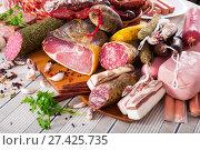 Купить «Variety of meats on table», фото № 27425735, снято 18 октября 2018 г. (c) Яков Филимонов / Фотобанк Лори