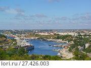 Панорамный вид на приморский город Севастополь и Южную бухту с высоты птичьего полета. Стоковое фото, фотограф Наталья Гармашева / Фотобанк Лори