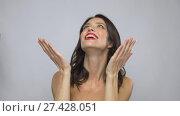 Купить «beautiful smiling young woman with red lipstick», видеоролик № 27428051, снято 11 января 2018 г. (c) Syda Productions / Фотобанк Лори