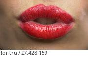 woman lips with red lipstick making kiss. Стоковое видео, видеограф Syda Productions / Фотобанк Лори