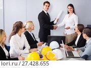 Купить «Handshaking in office», фото № 27428655, снято 7 декабря 2019 г. (c) Яков Филимонов / Фотобанк Лори