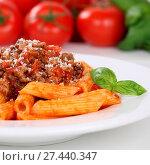 Купить «Italienisches Essen Penne Rigate Bolognese Sauce Nudeln Pasta Gericht», фото № 27440347, снято 24 января 2018 г. (c) easy Fotostock / Фотобанк Лори