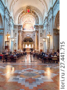 Купить «Bologna, Italy, The nave of the St. Peter cathedral», фото № 27441715, снято 6 мая 2016 г. (c) age Fotostock / Фотобанк Лори