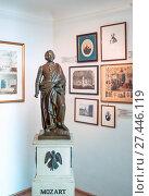 Купить «Austria, Salzburg, A statue of the musician and old memories in the W. A. Mozart home», фото № 27446119, снято 3 августа 2016 г. (c) age Fotostock / Фотобанк Лори