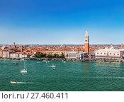 Купить «View from the top of Venice, St. Mark's Square and the lagoon», фото № 27460411, снято 16 апреля 2017 г. (c) Наталья Волкова / Фотобанк Лори