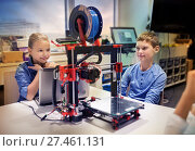 Купить «happy children with 3d printer at robotics school», фото № 27461131, снято 23 октября 2016 г. (c) Syda Productions / Фотобанк Лори