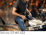 Купить «musician or drummer playing drum kit at concert», фото № 27461523, снято 18 августа 2016 г. (c) Syda Productions / Фотобанк Лори