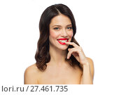 Купить «beautiful smiling young woman with red lipstick», фото № 27461735, снято 5 января 2018 г. (c) Syda Productions / Фотобанк Лори
