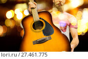 Купить «close up of musician with guitar over night lights», фото № 27461775, снято 11 декабря 2014 г. (c) Syda Productions / Фотобанк Лори