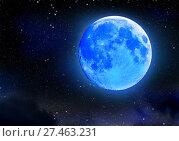 Купить «Eclipse of blue moon on night starry sky. Astronomical natural phenomenon.», фото № 27463231, снято 10 июля 2020 г. (c) Gennadiy Poznyakov / Фотобанк Лори