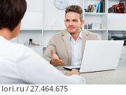 Купить «Journalist with laptop interviews the elderly wealthy woman», фото № 27464675, снято 23 июля 2018 г. (c) Яков Филимонов / Фотобанк Лори