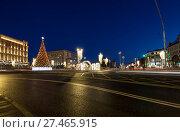 Купить «Christmas (New Year holidays) decoration Lubyanskaya (Lubyanka) Square in the evening, Moscow, Russia», фото № 27465915, снято 9 января 2018 г. (c) Владимир Журавлев / Фотобанк Лори