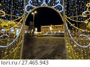 Купить «Christmas (New Year holidays) decoration Lubyanskaya (Lubyanka) Square in the evening, Moscow, Russia», фото № 27465943, снято 9 января 2018 г. (c) Владимир Журавлев / Фотобанк Лори