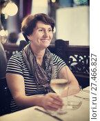 Купить «Elderly lonely woman at dinner in restaurant», фото № 27466827, снято 26 июня 2019 г. (c) Яков Филимонов / Фотобанк Лори