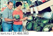 Купить «Adult male and female are choosing green melons in the store.», фото № 27466983, снято 22 октября 2017 г. (c) Яков Филимонов / Фотобанк Лори