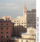 Купить «Genoa skyline with Parish Church», фото № 27467683, снято 18 января 2018 г. (c) EugeneSergeev / Фотобанк Лори